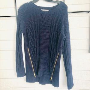 New CABI deep navy sweater with zippers